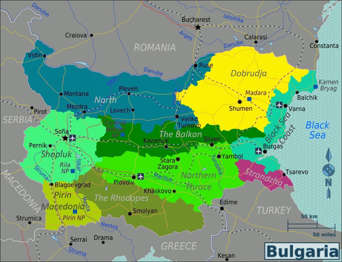 Bulgarien Lufthavne Kort Kort Over Bulgarien Lufthavne Ostlige