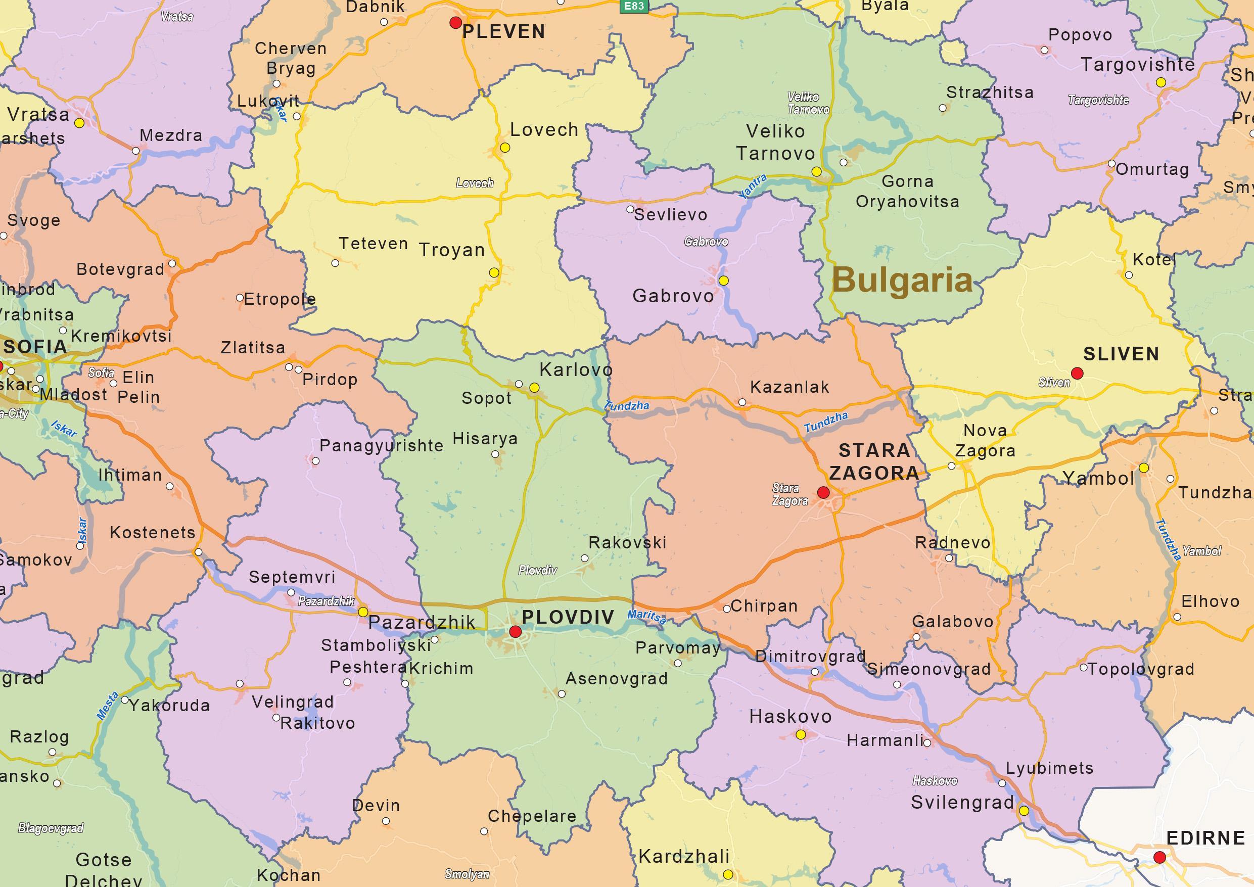 Bulgarien Politiske Kort Kort Over Bulgarien Politiske Ostlige