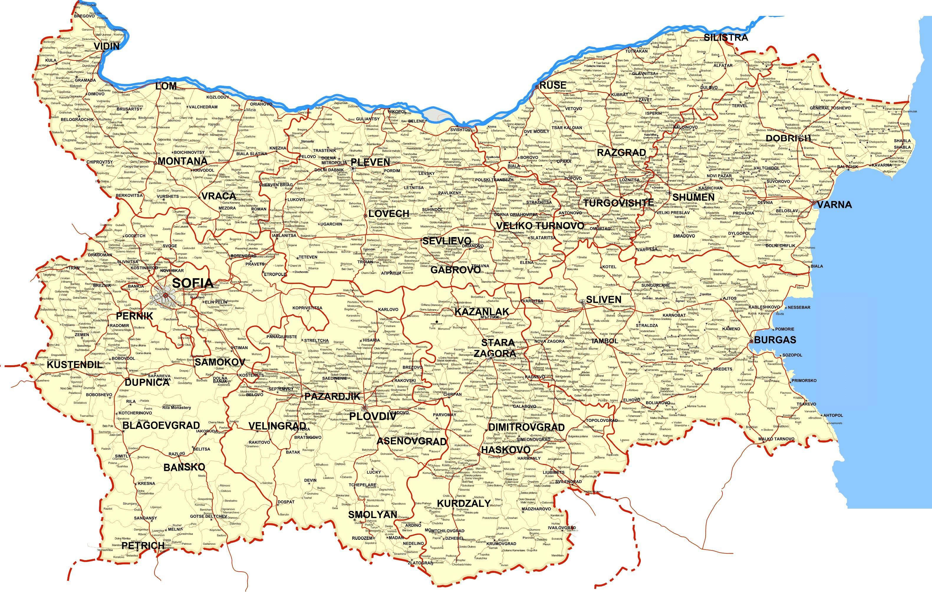 Kort Over Bulgarien Bulgarien Land Kort Ostlige Europa Europa